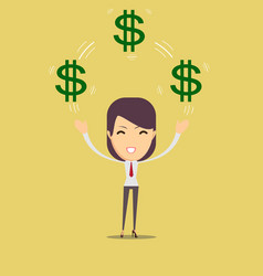 happy woman enjoying of money vector image