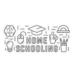 Home schooling horizontal rectangular banner vector