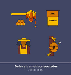 Honey colour icon set vector