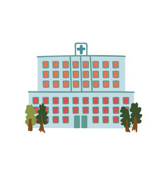 hospital public city building front view cartoon vector image