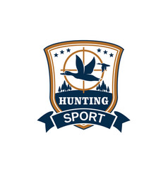 hunting sport or hunter club icon vector image