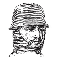 Iron hat vintage engraving vector image