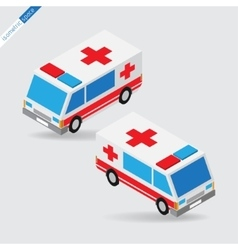 Isometric space - ambulance with siren side views vector