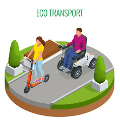 isometric woman on an electric scooter and man on vector image