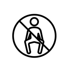 It is forbidden to sit icon outline vector