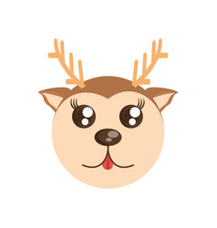 Kawaii face deer animal fun vector