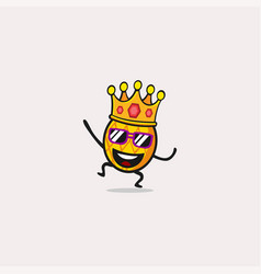 King pineapple cartoon character smile vector