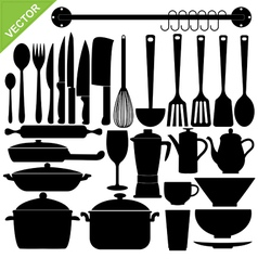 Kitchen tools silhouettes vector