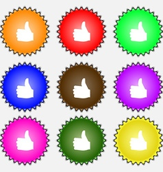 Like Thumb up icon sign A set of nine different vector image