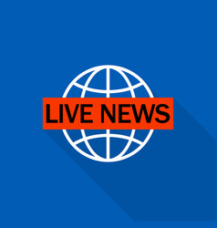 Live global news logo flat style vector