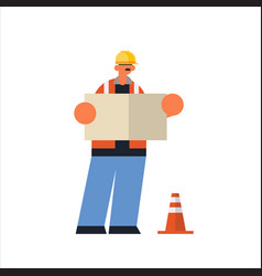 male builder architect holding blueprint busy vector image