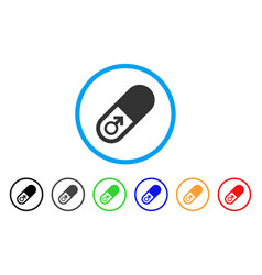 Male power pill rounded icon vector
