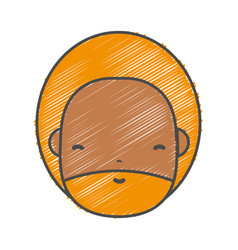 Man face with beard and hairstyle to avatar kawaii vector