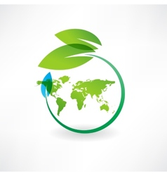 map earth and leaves icon vector image