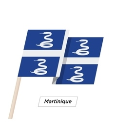 Martinique Ribbon Waving Flag Isolated on White vector image