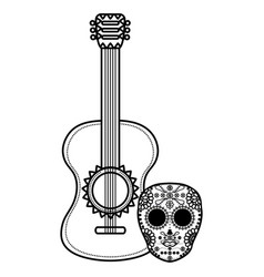 mexican skull death mask with guitar vector image