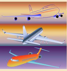 models of passenger aircraft vector image