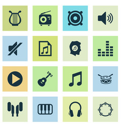 Multimedia icons set collection of file earmuff vector