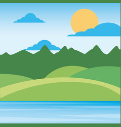 Nature landscape mountains with sky sun clouds vector