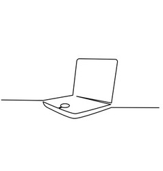 notebook laptop opened continuous one line vector image