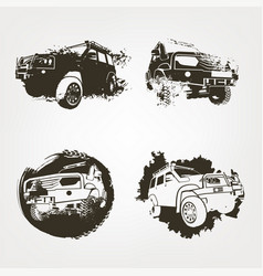 Off road elements set vector