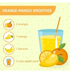 Orange and mango smoothie recipe with ingredients vector image
