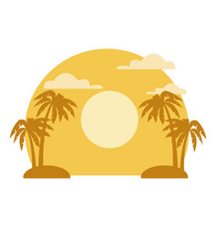 palms on sunset landscape vector image