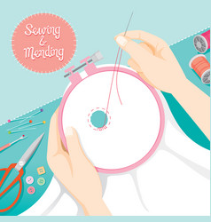 People hand darning clothes in embroidery hoop vector