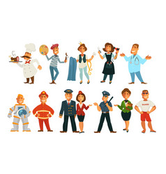 professions isolated characters work job and vector image