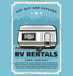 recreational vehicle rv camper travel car rental vector image