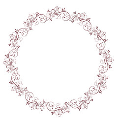 round frame of vintage leaves isolated on vector image