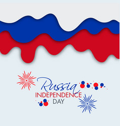 Russia independence day font with fireworks on vector