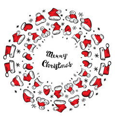 santa claus hats christmas round frame for vector image