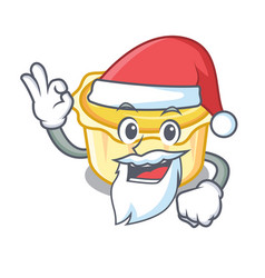 Santa egg tart mascot cartoon vector