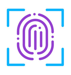 scan fingerprint close-up icon outline vector image