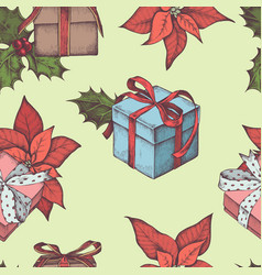 seamless pattern with colored poinsettia holly vector image