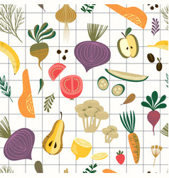seamless pattern with vegetables and fruit vector image