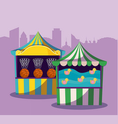 Set of circus tents with games vector