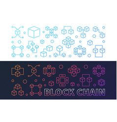 set of two block chain colorful banners in vector image