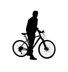 Silhouette man on a bicycle vector image