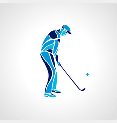 silhouette of golf player in blue colours vector image