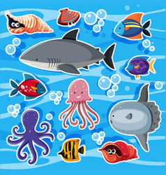 Sticker templates with sea animals underwater vector