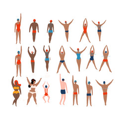 Swimmers set various characters swimming people vector