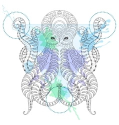 Tattoo Octopus Zentangle stylized Hand drawn vector