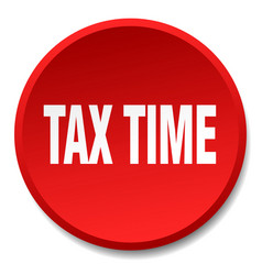 Tax time red round flat isolated push button vector