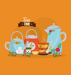 Tea time - teapots and teacup sugar lemon spoon vector