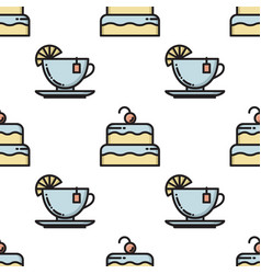thin line cake and tea cup seamless pattern vector image