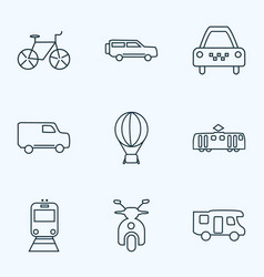 transport icons line style set with tram taxi vector image