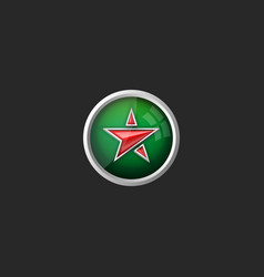 trendy glass button with red star icon on green vector image