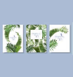 Tropical leaves banners set vector